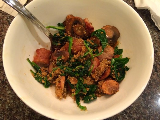 Chicken Apple Sausage, Mushroom, Spinach & Quinoa Bowl2