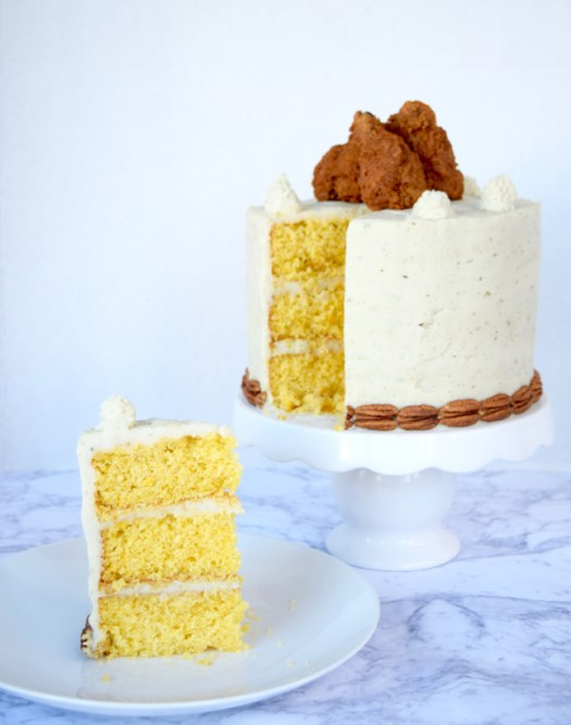 Fried-Chicken-Cornbread-Mashed-Potatoes-Layered-Cake-Recipe
