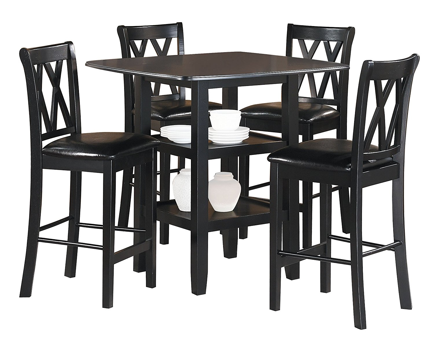 Modern Table And Chairs Homelegance Norman 5 Piece Counter Height Table Set In Black 2514bk 36