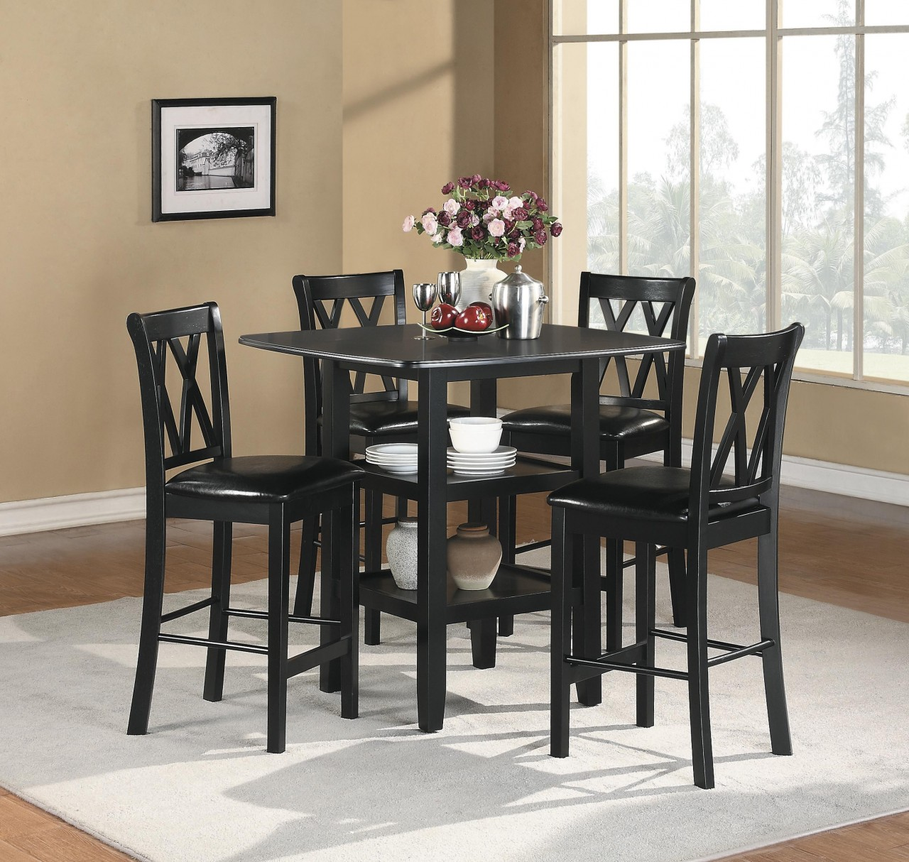 Countertop Table Sets Homelegance Norman 5 Piece Counter Height Table Set In