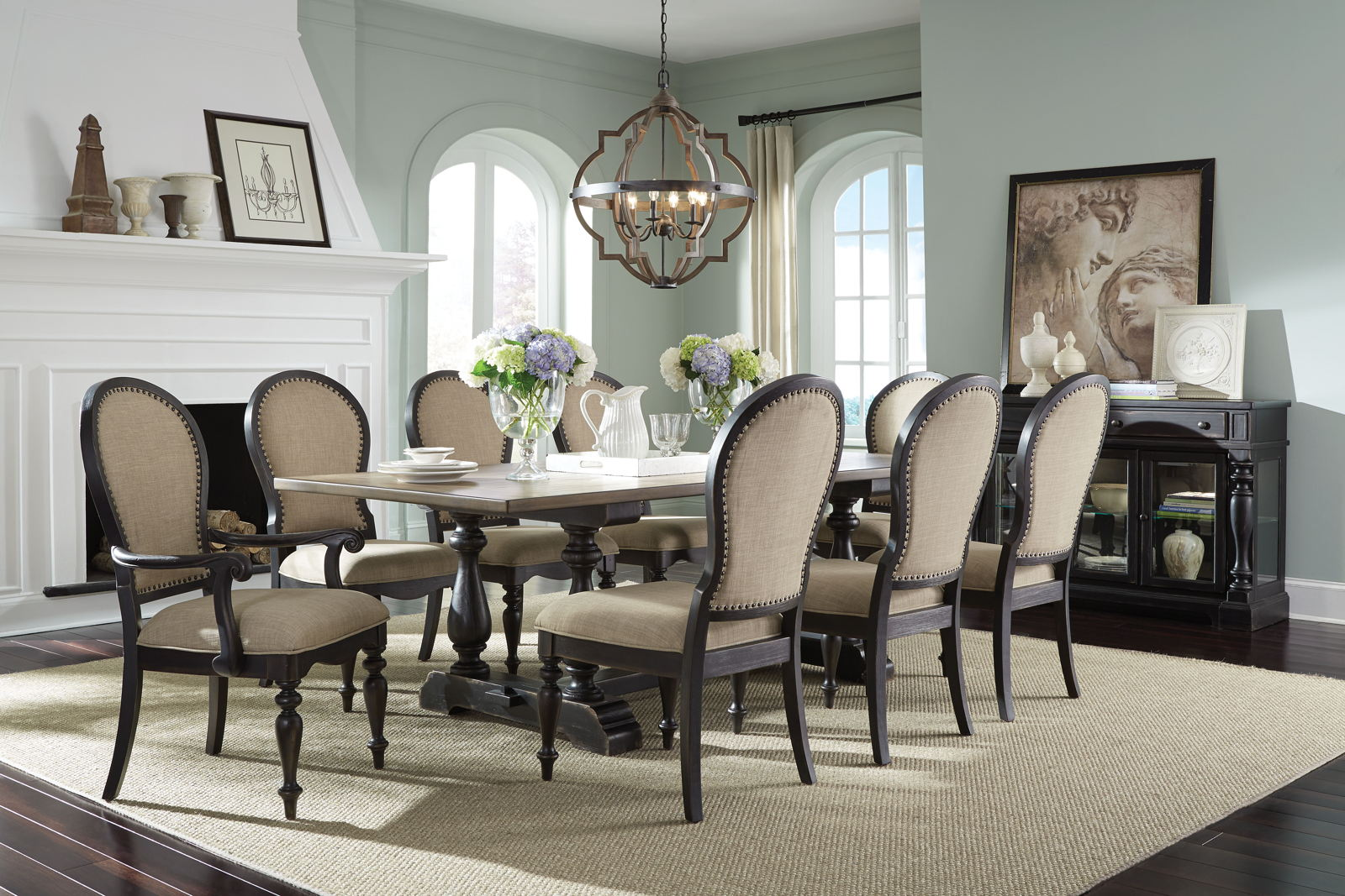 Glass Dining Table And Chairs Standard Furniture Cambria 7 Piece Trestle Dining Table Set In Two Tone Black