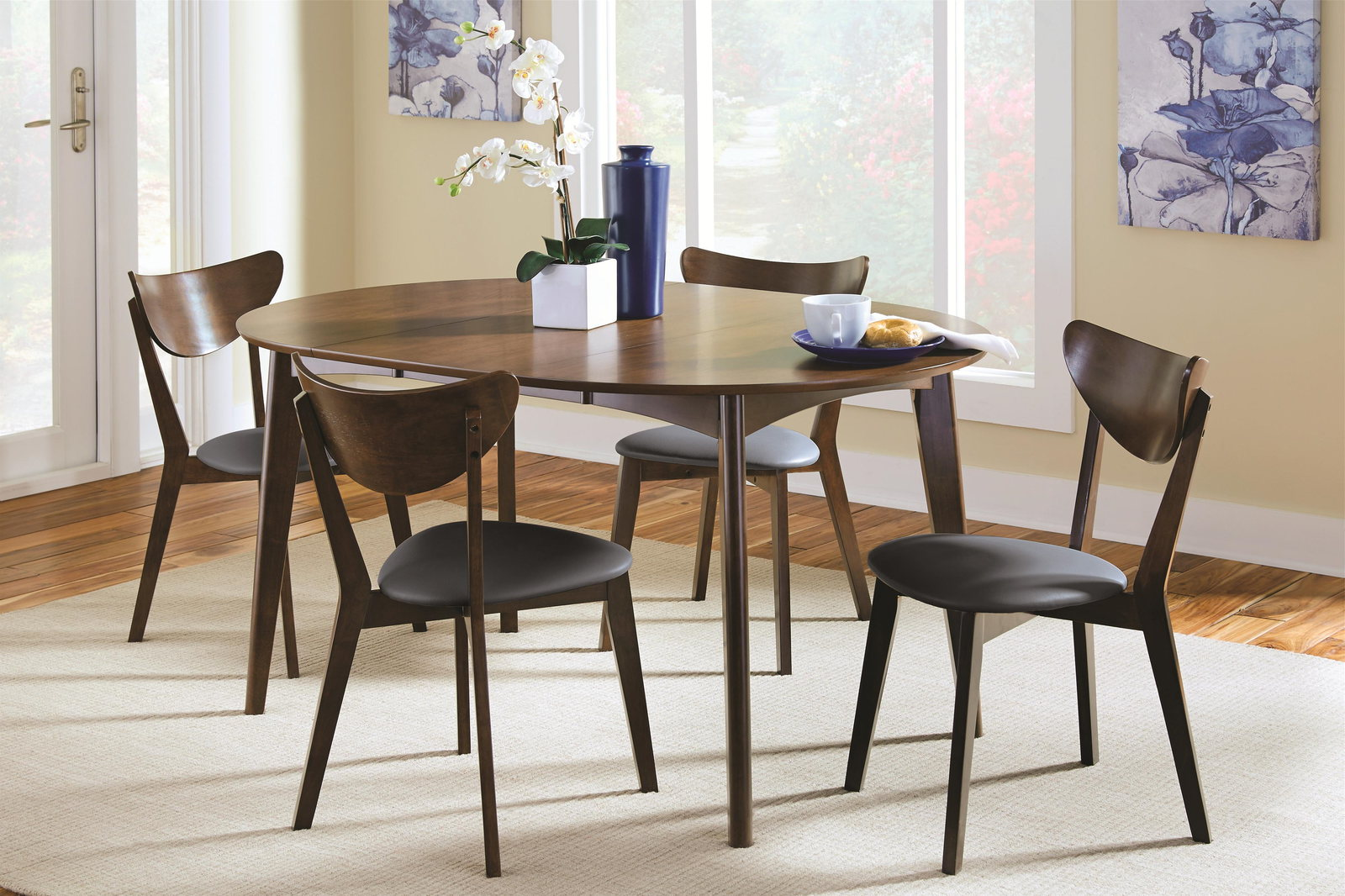 Modern Dining Room Furniture Coaster Malone Mid Century 6 Piece Modern Dining Room Set In Dark Walnut