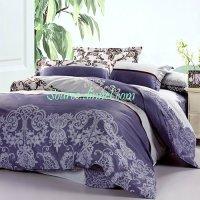 4-piece Luxurious Vine Collection Purple-Gray Cotton Dorm ...