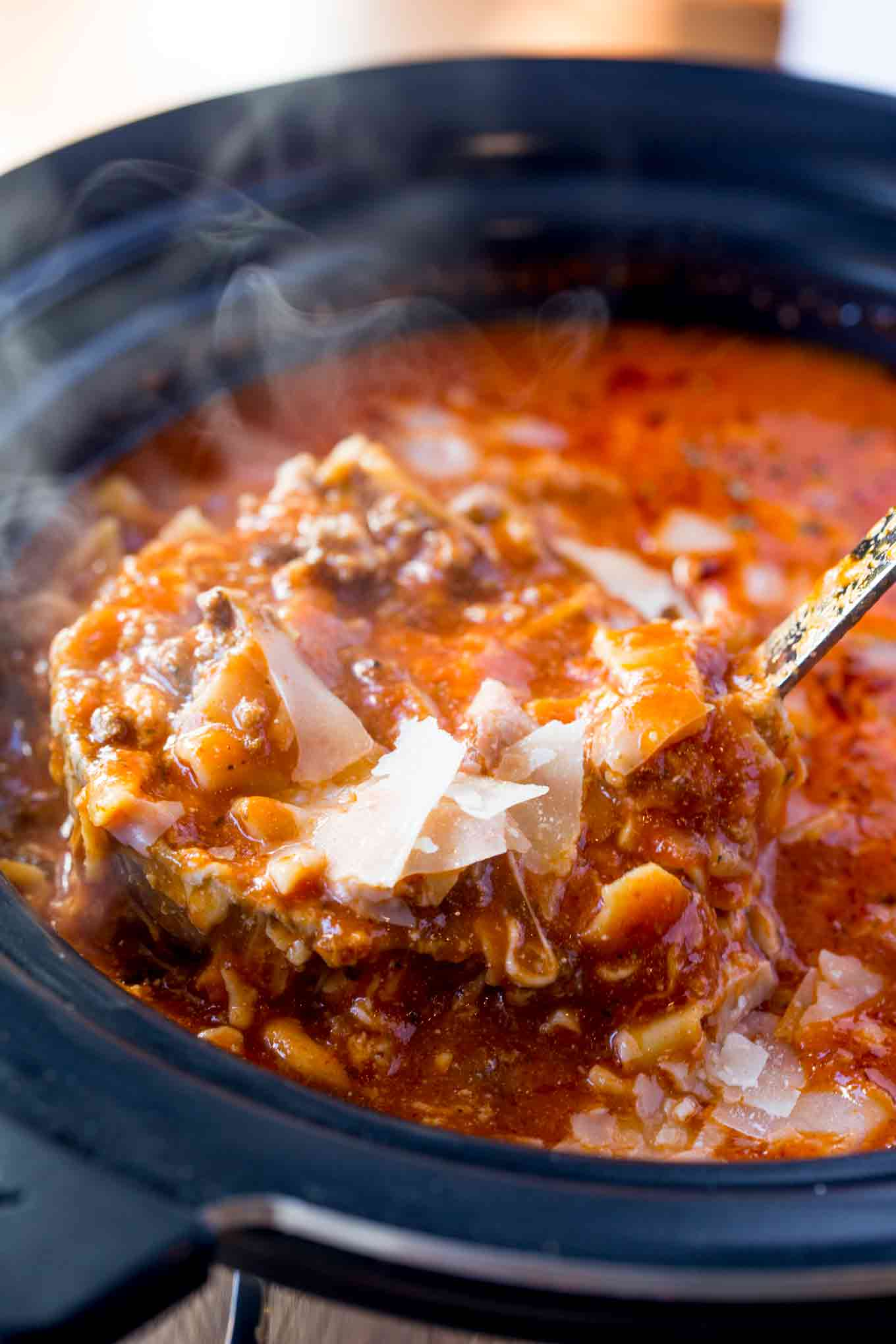 Chicken Dinner Slow Cooker Lasagna Soup - Dinner, Then Dessert