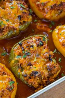 Frantic Stuffed Peppers Stuffed Peppers N Dessert Tex Mex Recipes Appetizers Tex Mex Recipes Party