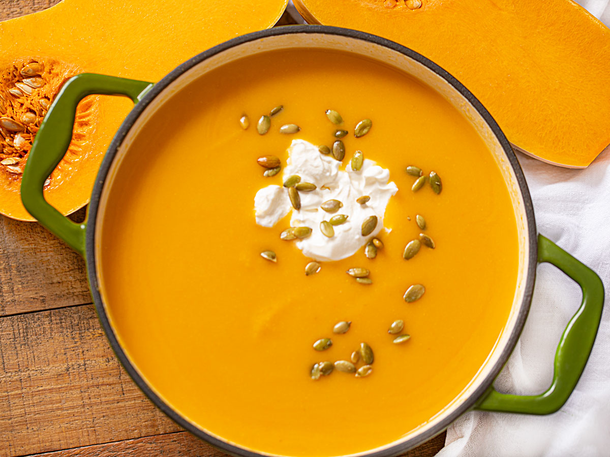 Easy Butternut Squash Soup With Topping Ideas Dinner Then Dessert