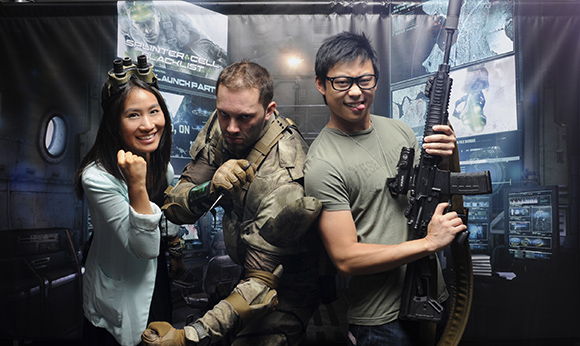 Chris Ha and Jenn Cheung with Sam Fisher - Splinter Cell: Blacklist Launch Party