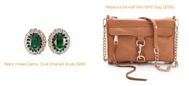 Bee's Knees Gems Oval Emeral Studs and Rebecca Minkoff Mini MAC Bag