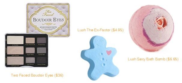 Sephora Two Faced Boudoir Eyes & Lush Ex-Factor and Sexy Bath Bomb