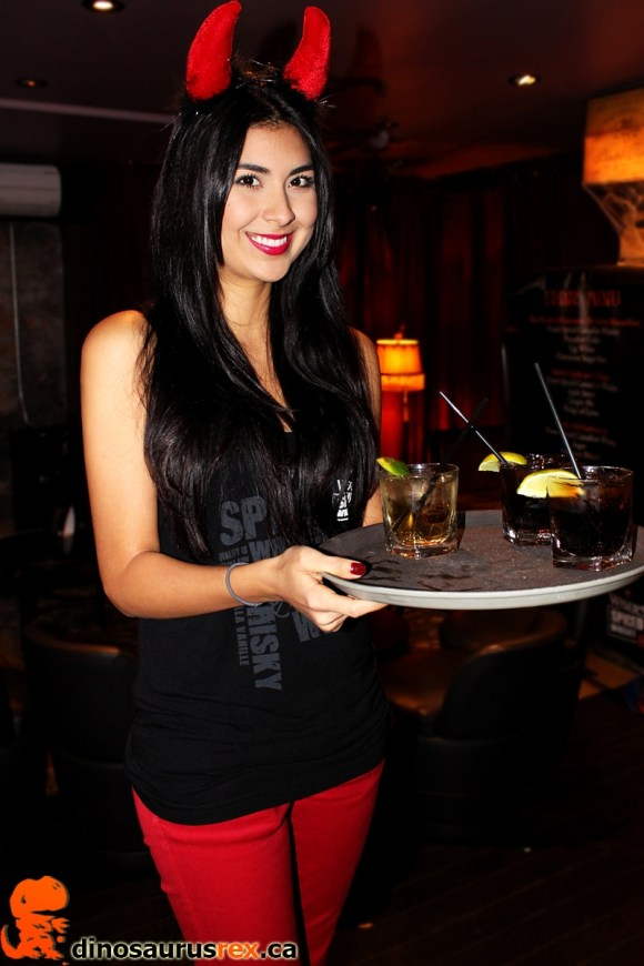 devilish-server-costum-with-drinks-Wiser's-spiced-canadian-whisky-halloween-launch-party-parlour-lounge Toronto