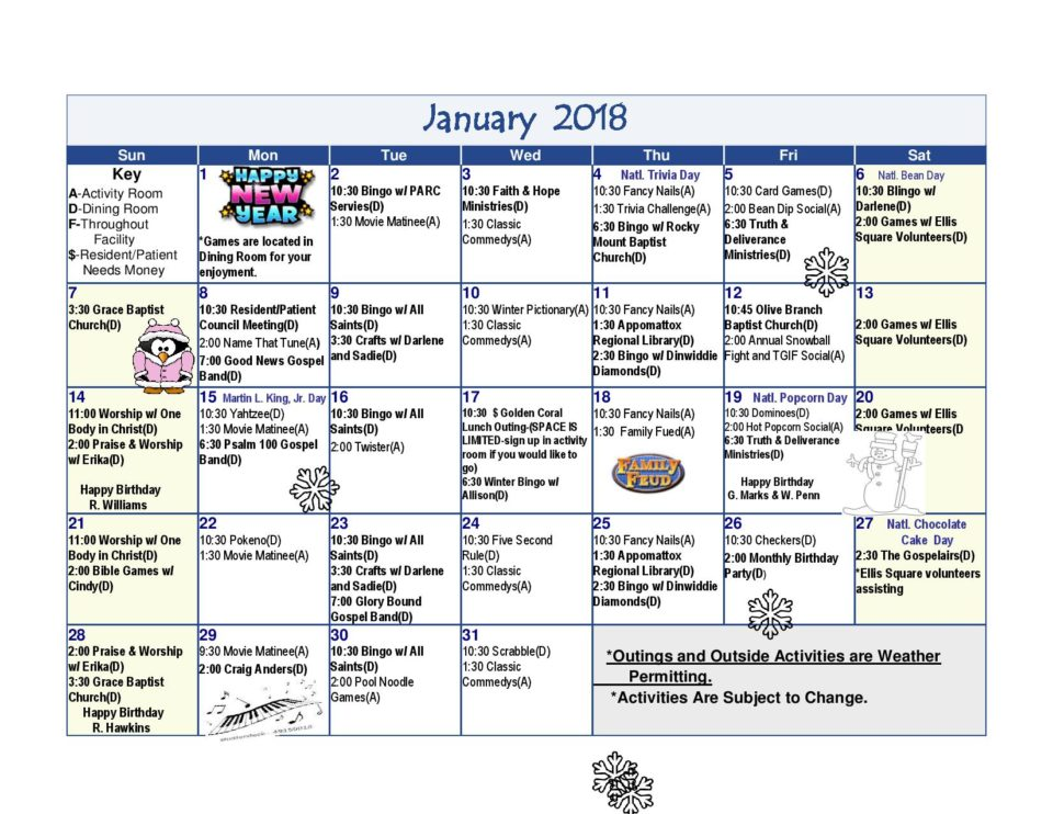 Activities Calendar- January 2018 - Dinwiddie Health  Rehab Center