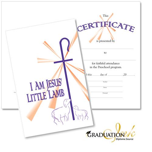Christian Preschool Certificate - $275