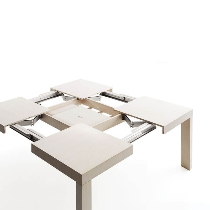 Table De Jardin Aluminium 8 Personnes Quartetto - Table Carrée Extensible Par Bauline