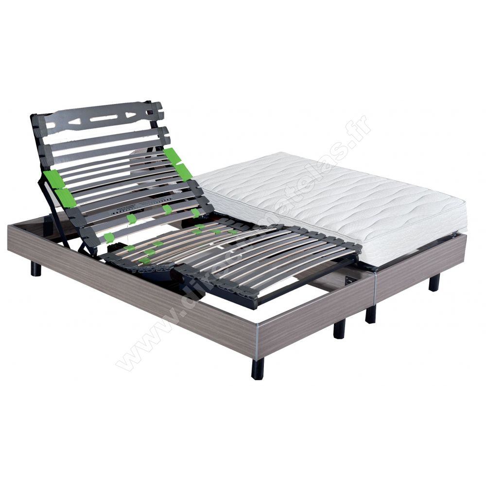 Matelas Sommier Epeda Pack 2x80x200 Matelas Epeda A Ressorts Ensachés Sommier Eternel Dm Palissandre Pieds Cylindriques