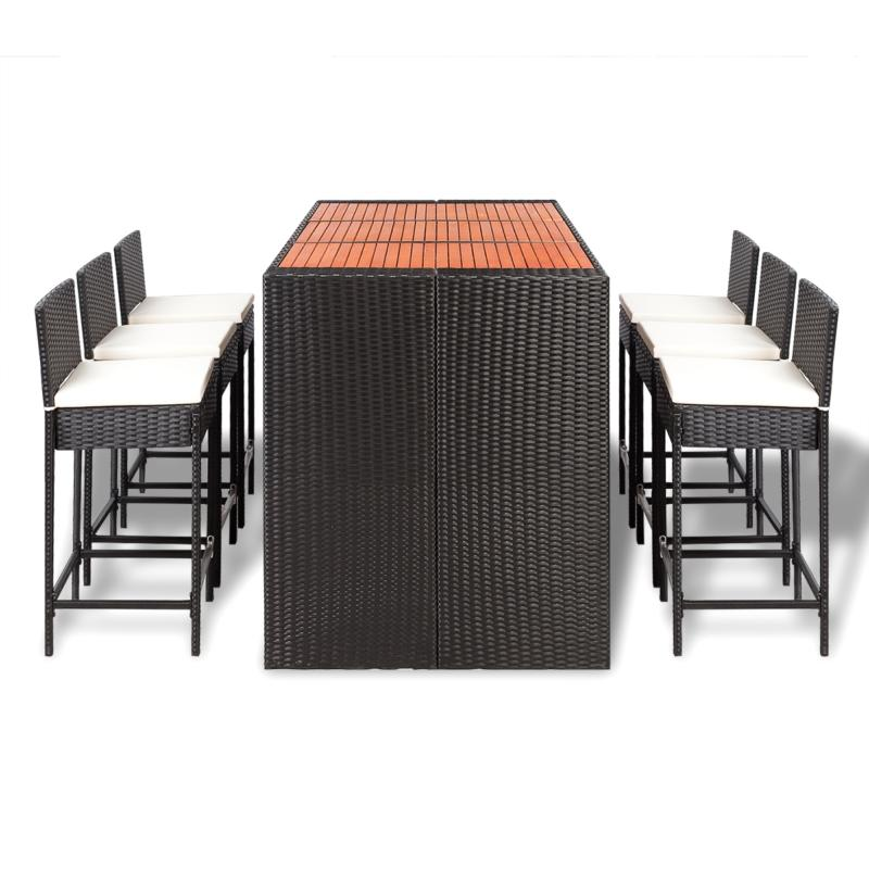 Table Haute Avec Tabourets En Bois Bar