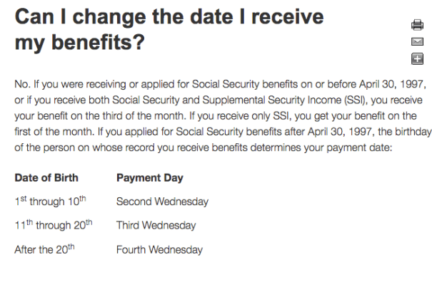 """Social Security Payment Schedule"""