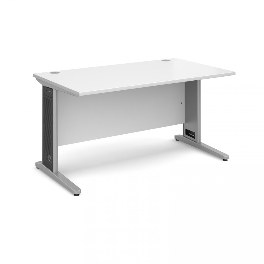 White Office Desk Largo Straight Office Desk 1400mm White