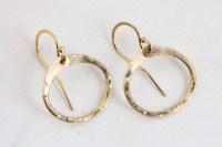 Simple Zen Circle - Small Drop Hoop Earrings - Hammered ...