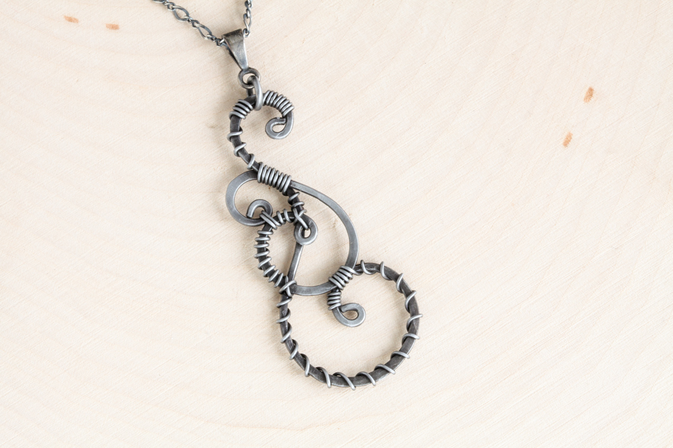 Twisted Teardrop Wire Wrapped Pendant Necklace