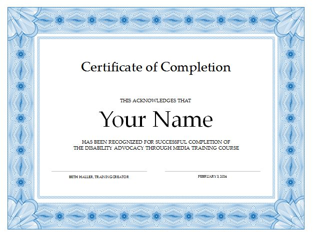 Certificate of Completion Disability Advocacy through Media
