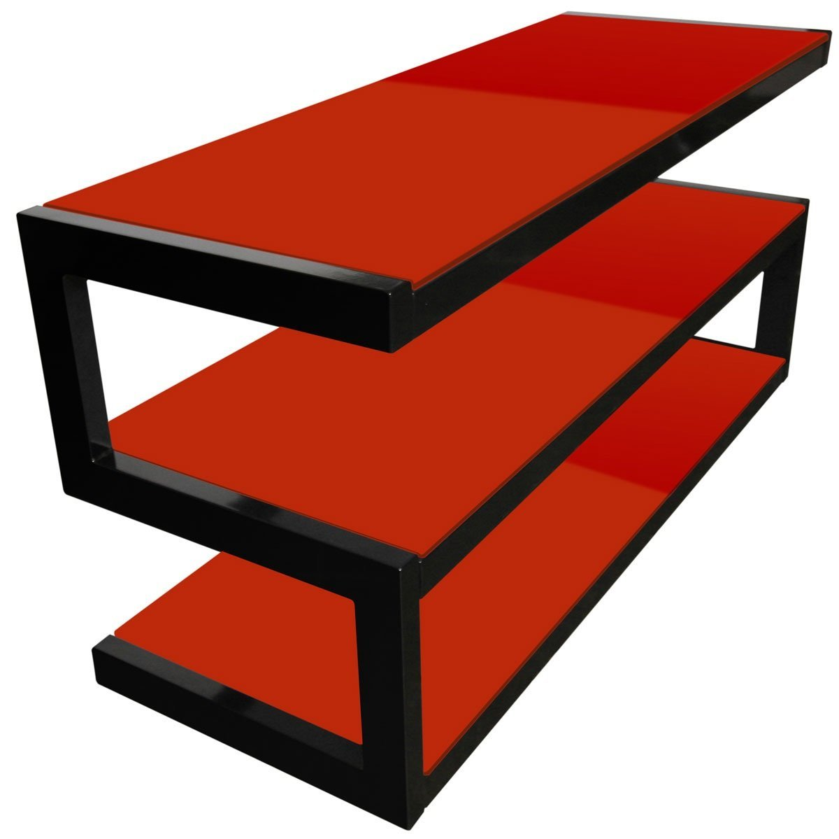 norstone esse 3 shelf av tv stand with glass red 1100mm