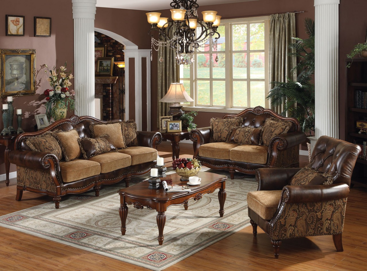 Traditional Living Rooms Acme Dreena Traditional Bonded Leather And Chenille Living