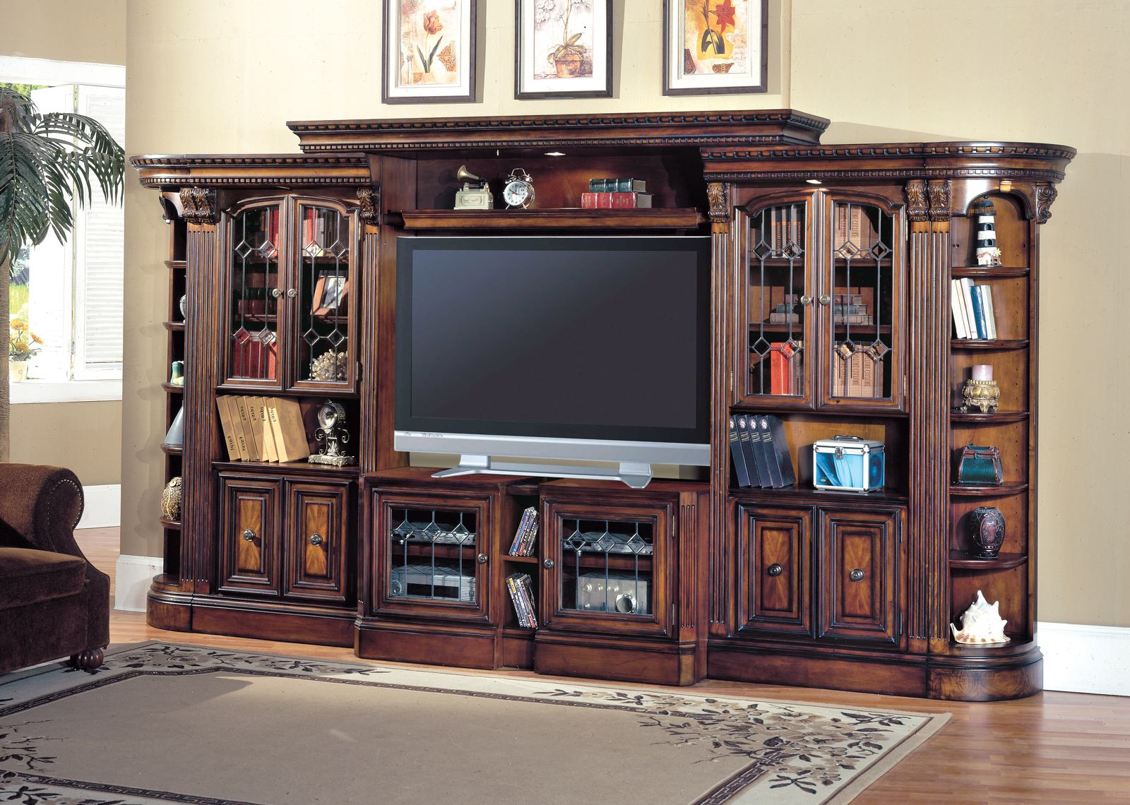 Huntington House Furniture Quality Parker House Huntington Expandable Grand Entertainment Wall In Vintage Pecan Code Univ20 For 20 Off