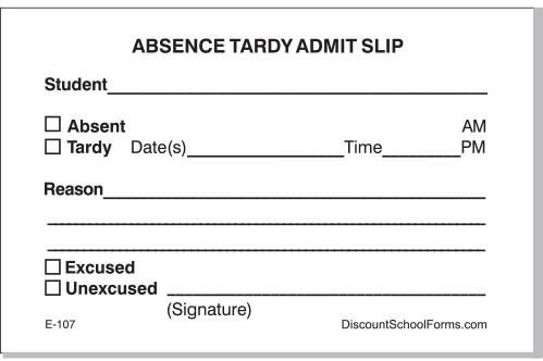 Absence-Tardy Admit Slip Pads School Forms