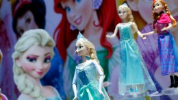 In this Feb. 14, 2014, file photo, Disney Frozen Feature Fashion Dolls are displayed at the Mattel booth, Friday,  at the American International Toy Fair in New York. (AP)