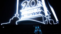 Illuminated performers pose onstage at the start of 20th Century Fox's presentation at CinemaCon 2017 at Caesars Palace on Thursday, March 30, 2017, in Las Vegas. (AP)