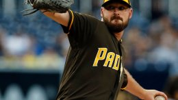 San Diego Padres pitcher Travis Wood throws during the first inning of the team's baseball game against the Pittsburgh Pirates in San Diego, Friday, July 28, 2017. (AP)