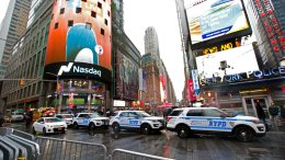 In this Dec. 29, 2016, file photo, a row of New York City police cars is parked along a street in New York's Times Square. (AP)
