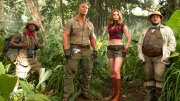 "This file image released by Sony Pictures shows Kevin Hart (from left), Dwayne Johnson, Karen Gillan and Jack Black in ""Jumanji: Welcome to the Jungle.""  (AP)"