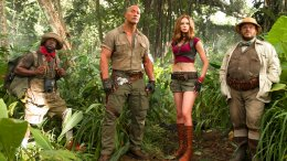 """This file image released by Sony Pictures shows Kevin Hart (from left), Dwayne Johnson, Karen Gillan and Jack Black in """"Jumanji: Welcome to the Jungle.""""  (AP)"""