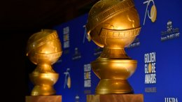 In this Monday, Dec. 11, 2017 file photo, Golden Globe statues appear on stage prior to the nominations for 75th Annual Golden Globe Awards at the Beverly Hilton hotel in Beverly Hills, Calif. (AP)