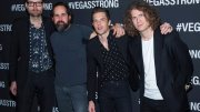 In this Dec. 1, 2017, file photo, Mark Stoermer  (from left), Ronnie Vannucci, Brandon Flowers and Dave Keuning of The Killers arrive at the Vegas Strong Benefit concert at T-Mobile Arena, in Las Vegas. (AP)