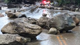 In this photo provided by Santa Barbara County Fire Department, mud and debris flow on the roadway due to heavy rain in Montecito. Calif., Tuesday, Jan. 9, 2018.   (AP)