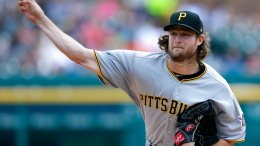 In this Aug. 10, 2017, file photo, Pittsburgh Pirates starter Gerrit Cole pitches against the Detroit Tigers during the first inning of a baseball game in Detroit. (AP)