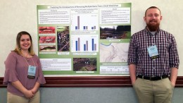 "Sierra Andres and Tanner Harris of Oil City took second place with their poster showing research on ""Predicting the Consequences of Removing Multiple Dams from a Small Watershed"" at a conference in State College. The two are environmental biology majors at Clarion University. (Contributed photo)"