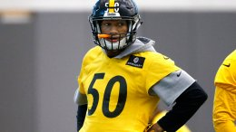 In this Jan. 14, 2016, file photo, Pittsburgh Steelers linebacker Ryan Shazier (50) waits to run a drill during an NFL football practice in Pittsburgh. (AP)
