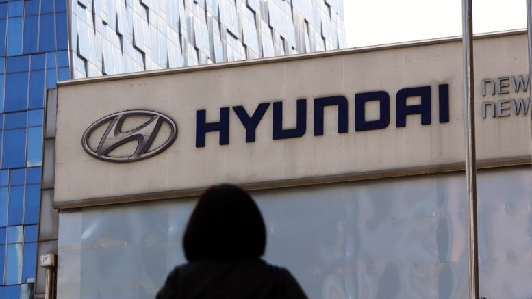 In this April 26, 2017, file photo, the logo of the Hyundai Motor Co. is displayed at the automaker's showroom in Seoul, South Korea.    (AP)