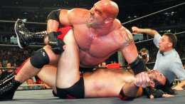 In this July 6, 1998, file photo, World Championship Wrestling heavyweight champion Bill Goldberg puts Scott Hall to the mat during a match in Atlanta. (AP)