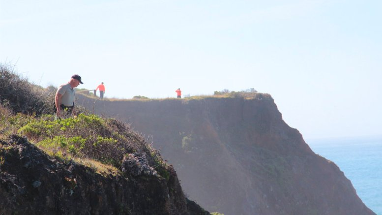 Deputy Bill Holcomb looks down the cliff near the crash site near Mendocino, Calif., as search and rescue volunteers scour the area behind him on Thursday, March 29, 2018, and resume looking for three children, still missing after their parent's SUV plunged into the ocean Monday. (AP)