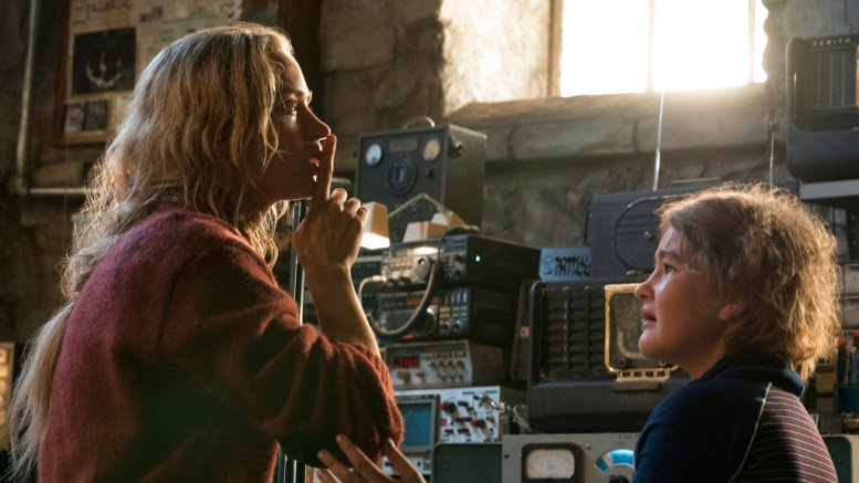 """This image released by Paramount Pictures shows Emily Blunt playing Evelyn Abbott and Millicent Simmonds playing Regan Abbott on the set of """"A Quiet Place."""" (AP)"""