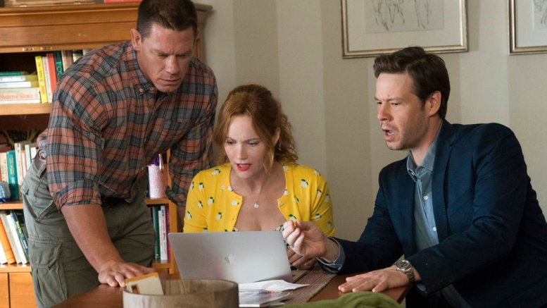 "This image released by Universal Pictures shows John Cena, from left, Leslie Mann and Ike Barinholtz in a scene from ""Blockers."" (AP)"