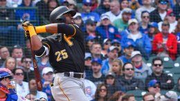 Pittsburgh Pirates' Gregory Polanco hits a home run during the seventh inning of a baseball game against the Chicago Cubs, Thursday, April 12, 2018, in Chicago. (AP)
