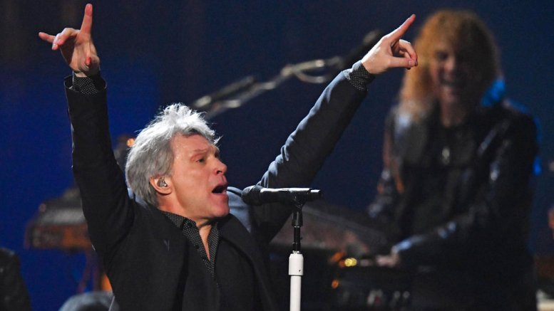 Jon Bon Jovi performs during the Rock and Roll Hall of Fame induction ceremony, Saturday, April 14, 2018, in Cleveland. (AP)