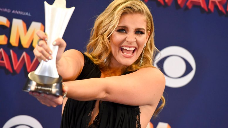 Lauren Alaina poses in the press room with the award for new female vocalist of the year at the 53rd annual Academy of Country Music Awards at the MGM Grand Garden Arena on Sunday, April 15, 2018, in Las Vegas. (AP)