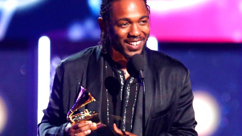 """In this Jan. 28, 2018, file photo, rapper Kendrick Lamar accepts the award for best rap album for """"Damn"""" at the 60th annual Grammy Awards in New York. (AP)"""