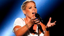 "In this Sunday, Jan. 28, 2018, file photo, Pink performs ""Wild Hearts Can't Be Broken"" at the 60th annual Grammy Awards at Madison Square Garden in New York. (AP)"